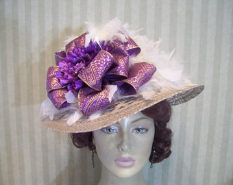 Kentucky Derby Hat Wedding Hat Victorian Hat Tea party Hat Ascot Hat Easter Hat Church Hat By Ms.Purdy