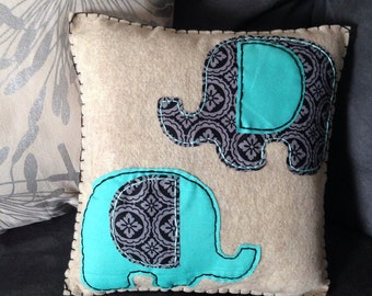 Oatmeal Felt with Fabric Elephants Pillow