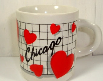 Vintage Chicago Souvenir Cup, Mug, Small, Red Hearts, Ceramic  (76-15)