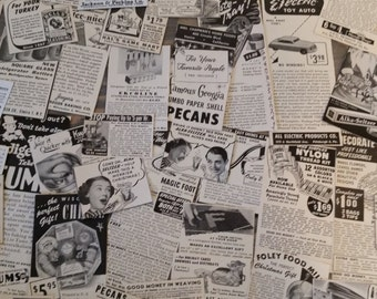 Vintage Paper Ephemera 80 pieces..1940's 1950's Magazine Ads..Vintage Clippings..Altered Art Supply..Mixed Media Supply..Paper Ephemera