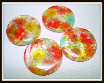 Orange Red Posies Printed Flat Round Shell Beads (Qty 4) - B2528