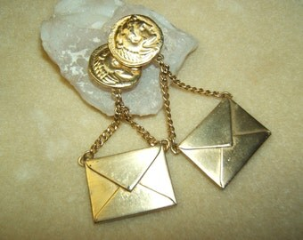 Marla Buck Coin Clips with Envelope Drop Earrings - 1980's Designer Jewelry