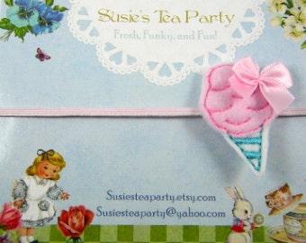 Pink Cotton Candy Headband-Skinny Elastic Headband-Easter Headband-felt headband-baby headband
