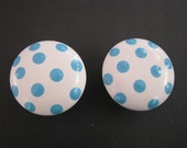 Aqua polka dot drawer knobs