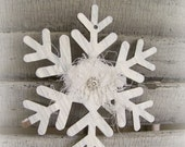 Handmade Winter White Christmas Snowflake Ornament Vintage Snowflake Decoration Glitter Snowflake Tattered Lace Snowflake Shabby White