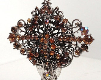 Filigree Rhinestone Cross Statement Pendant Necklace LIght and Dark Amber Assemblage Art Statement Pendant or Home Decor Christmas Ornament