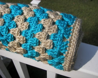 Teal and Tan Baby Blanket - Granny Square Crochet - Bright Blue - Striped Blanket - Ready to Ship - Baby Shower Gift - Smoke Free - Heirloom