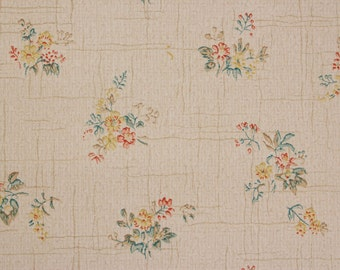 1920's Vintage Antique Wallpaper Small Flower Bouquets on White--Made in England