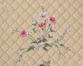 1940s Vintage Wallpaper Pink and White Flower Bouquets on Yellow Quilted by the Yard