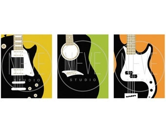 Guitar Prints, modern guitar art for boys, set of 3, 8 x 10 Art Prints - available in different colors and sizes