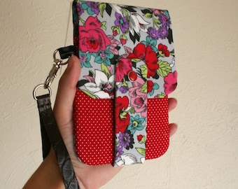 Floral Print with Red Polka Dot Fabric- Phone Wallet with Card Slots and Zipper- Leather Wrist Strap