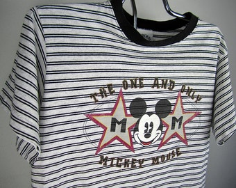 vintage 1980s 1990s MICKEY mouse t-shirt grey STRIPE heather street style DISNEY tee donnkenny collectable tshirt cotton L mickey & co U S A