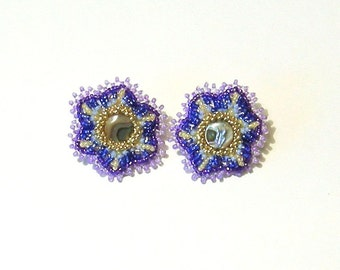 Abalone floral post earrings