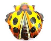 Broche coccinelle, 60 s étain bijoux de costume coccinelle insecte jouet, fabriqué au Japon.