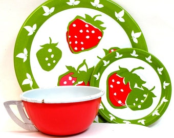 Strawberries Tin Toy Tea Setting, 3 piece set. Cup, plate & saucer.