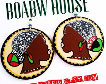 African Woman Cameo Earrings