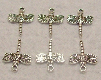 Tibetan Silver Dragonfly Beads/Charms - Set of 6