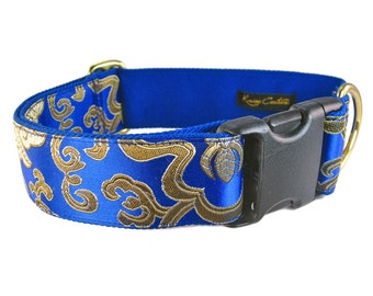 Blue Dog Collar - Fancy Collar for Boy Dogs - Made to Order Collar - Silk Dog Collar - Blue and Gold Collar - Special Occasion Dog Collar
