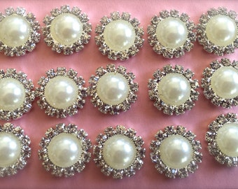 """New- SMALL PEARL with RHINESTONE Button Flat back-ivory or white-15 count-1/2"""" wide"""