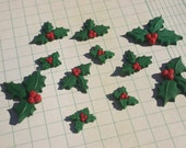 Holly Berry Christmas Flatbacks - Holly Crafting Cabochons - 11 Pieces