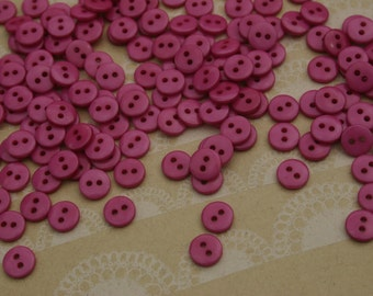 "Tiny Purple Buttons - 3/8"" Button - 55 Buttons - Raspberry"