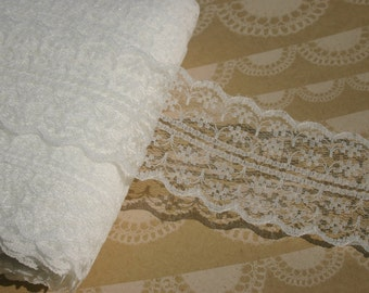 "Wide Ivory Lace - Galloon Off White Trim - 1 3/4"" - Bridal Wedding Decor - 4 Yards"
