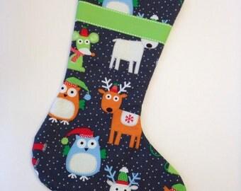 Charcoal Grey Animal Christmas Stocking with Neon Green Lining