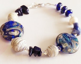 Ancient Galaxy Lampwork Gemstone Sterling Silver Bracelet by keiara SRA