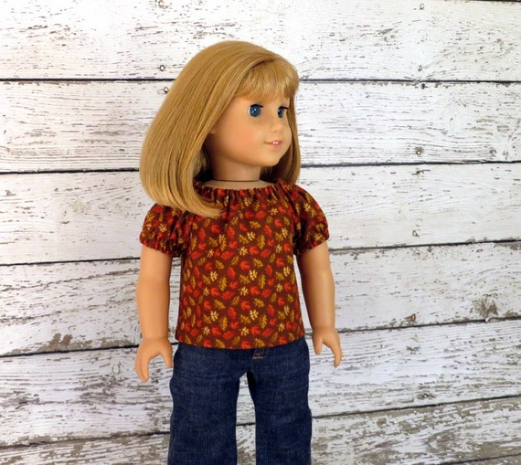 Autumn Leaves - Peasant Top in Brown Rust Tan, Doll Clothes fits 18 inch American Girl Doll