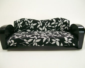 Couch Art Deco Modern Settee Sofa Black 1:12 Dollhouse Miniature Artisan