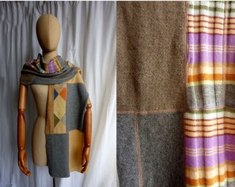 recycled cashmere scarf in blue taupe gray orange stripe shawl wrap    1203