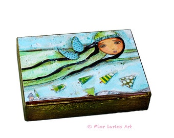 Winter Fairy - Aceo Giclee print mounted on Wood (2.5 x 3.5 inches) Folk Art  by FLOR LARIOS