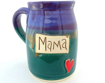 Handmade Pottery Mug pottery and ceramics Mama teal purple and brown by Jewel Pottery