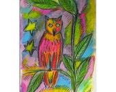 Smart Owl - Bird Art - Hand Painted Card