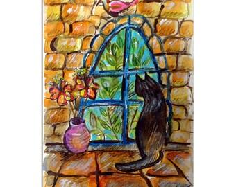A Black Cat in Jerusalem, Cat looking at the window,, Cat Card, Black Cat Painting, Art Card, Pink Bird Painting, Flower Vase, Handmade Card