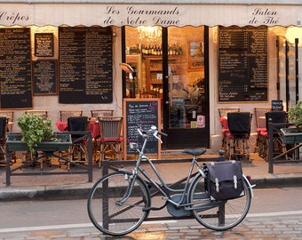 "Paris Photography, ""Cafe Bike"" Paris Print Extra Large Wall Art Prints, Paris Wall Decor"
