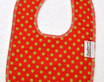 Red with Green Dots Drooler Bib - Snap - Non wicking fleece back - Middle layer Organic cotton