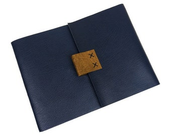 Leather Artist's Sketchbook: Blue & Brown Extra Large A4 Journal, featured in ELLE Malaysia gift guide. Longstitch limp binding.