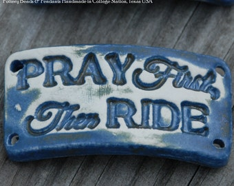 Pottery cuff bead, Pray First in Stormy Blue