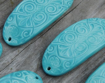 The Belle, one pottery cuff bead in Aqua Fresca