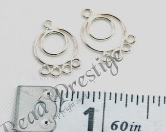 """1"""" Dia.  9mm x 13mm Sterling Silver  Chandelier 4 loop - Hoop Earrings."""
