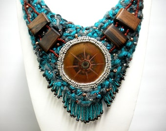 FREE SHIP Copper Sunburst Turquoise blue knitted necklace with exotic wood, copper enameled center medallion BearlyArtDesigns Store