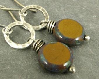 Coin Earrings,  Mustard Caramel Earrings, Fused Fine Silver Earrings, Fall Fashion Jewelry Gifts for Her