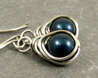 Pearl Earrings, Blue Pearl Earrings, Wire Wrapped Pearl Earrings, Fine Silver Jewelry Gifts for Her