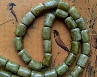 Picasso Beads Green, Vintage Picasso Glass Beads, Olive Green Bead, Austria Picasso Loose Beads 5x8mm, Jewelry Making Beads Rustic Green 10