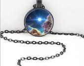 Nebula Space Necklace, Nebula Space Pendant, Space Pagan Bohemian Gypsy Jewelry  RW021