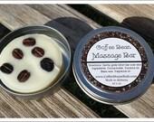 Coffee Bean Massage Bar - Lotion Bar - Travel Tin - Free Shipping