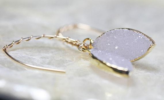 Druzy Earrings,  White Druzy Earrings, Crystal Earrings, Geode Earrings, Natural Druzy Earrings, Gold Dipped Druzy Earrings