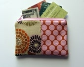 Zipper Bag - Small Purse Size - Orange, Pink Flowers and Dots, Zipper Pouch, Coin Purse, Credit Card Bag, Gift Card Holder