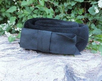 Vintage BLACK Imported Fur Hat by Chevalier / Union Made